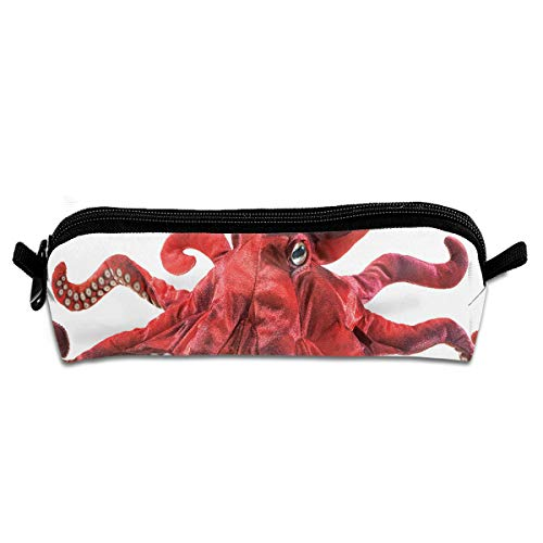 (Pencil Case Red Octopus Puppet Vintage Pencil Box for Children Christmas Gift)