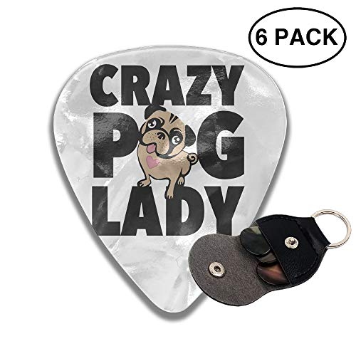 Guitar Picks Plectrums Crazy Pug Lady Classic Electric Celluloid Acoustic for Bass Mandolin Ukulele 6 Pack 3 Sizes .96mm -