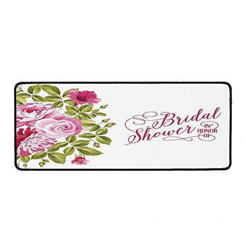 (Bridal Shower Decorations Non Slip Mouse Pad,Shabby Chic Flowers Roses Buds and Leaves Art for Laptop Computer & PC,15.75''Wx35.43''Lx0.12''H)