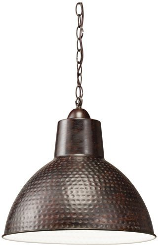 Kichler Lighting 78200 Missoula 1LT Swag Pendant, Bronze Finish with White Interior Shade by - Missoula Stores