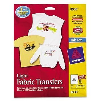 ave8938 avery light fabric transfers for inkjet printers