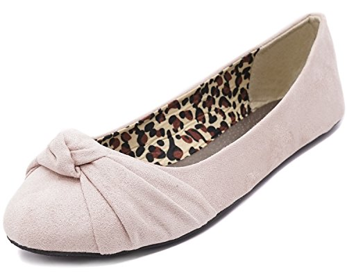 (Charles Albert Women's Knotted Front Canvas Round Toe Ballet Flats (6, Blush Suede))