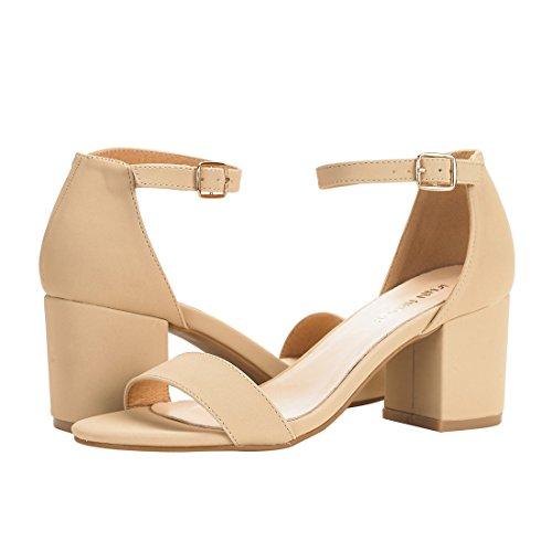 JENN Pu With Sandals Chunky Straps ARDOR Open Evening Block Sandals Beige Women Heel Ankle Toe Dress r0CwqrZ