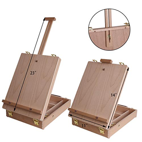 Vencer Adjustable Wood Table Sketchbox Easel- Portable Wooden Artist Desktop Storage Case - Store Art Paint, Markers, Sketch Pad - Student Drawing, Painting