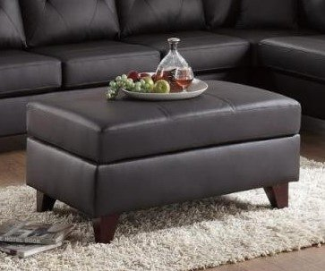 Poundex F6883 Mirabella Brown Top Grain Leather Cocktail Ottoman