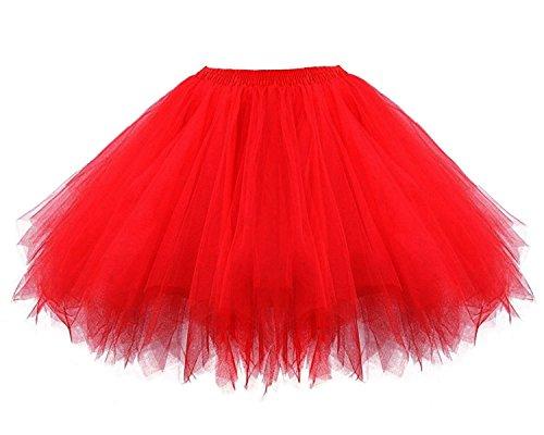 Facent Femme Mini Courte Robe Tutu Jupe Tulle Jupon Sous Jupe Princesse Soires Anniversaire Dguisement Rouge