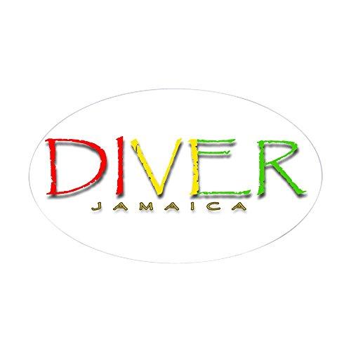 CafePress Diver Jamaica Oval Bumper Sticker, Euro Oval Car - Oval Decal Jamaica