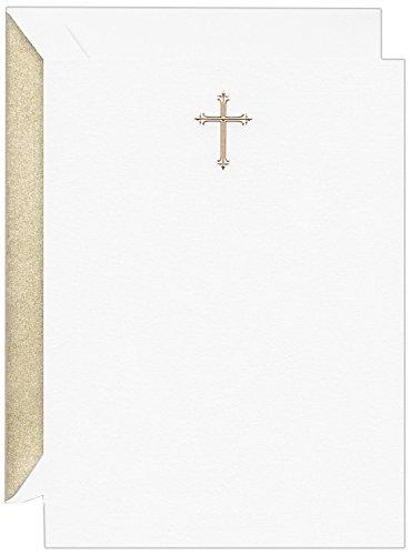 - Crane & Co. Hand Engraved Gold Cross Imprintable Invitation Card (CC9400)