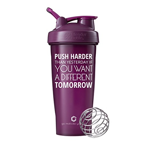 GOMOYO Push Harder on BlenderBottle Brand Classic Shaker Cup, 28oz Capacity, Includes BlenderBall Whisk (Plum - 28oz)