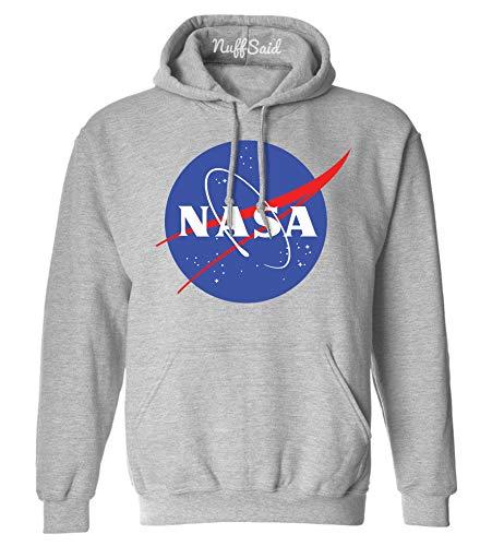 NuffSaid NASA Worm Logo Hooded Sweatshirt Sweater Pullover - Unisex Hoodie (Small, Grey)