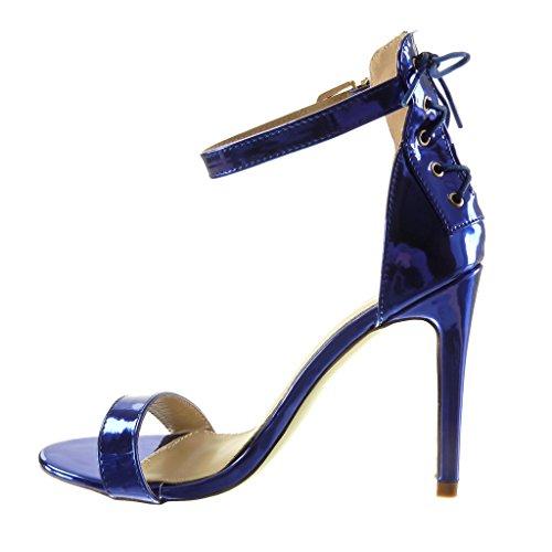 Angkorly - Chaussure Mode Escarpin Sandale stiletto sexy femme lacets lanière Talon haut aiguille 10.5 CM - Bleu