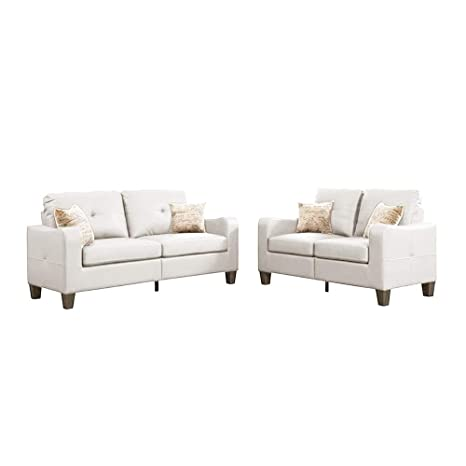 Peachy Amazon Com Sectional Sofa 2 Piece Set With Loveseat Faux Machost Co Dining Chair Design Ideas Machostcouk