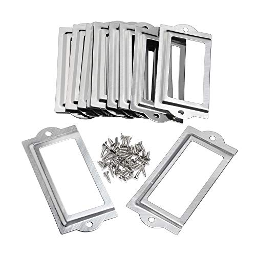 BCP 20pcs 80 x 35mm Silver Color Metal Office File Cabinet Shelves Drawer Name Card Label Holder Frames with - Label Plate