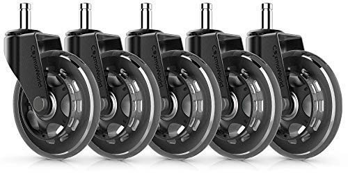 CozmoWorld Office Chair Wheels Set of 5 Universal Fit Rollerblade Type Replacement Swivel Casters -Heavy Duty Soft Rubber Wheel Safe for Hardwood Floor -No More Desk Chair Mats for Carpeted Floors