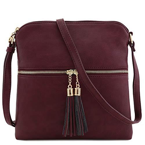 Tassel Zip Pocket Crossbody Bag (Burgundy)