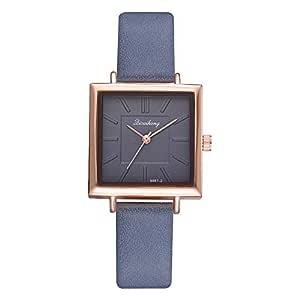 Relojes Pulsera 28mm Esfera Pequeña Cuadrada Bisel Oro Rosa Cuarzo Relojes Mujer Chica Correa de PU Exquisito