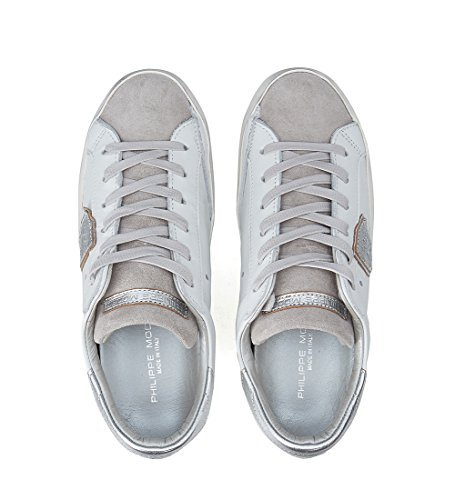 Blanco Piel Plata en Model Paris Philippe Blanca y Sneaker I148Zq8