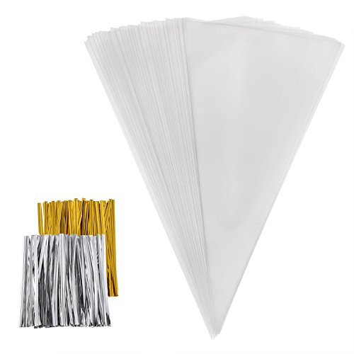 Outus 100 Pieces Cone Bags Clear Cello Bags Treat Bags with 50 Gold and 50 Silver Twist Ties for Sweets, Crafts, 11.8 by 6.3 Inches