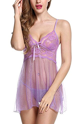 HuoGuo Dress Babydoll Hollow Lace Lingerie Set with G-stiing Purple#1XX-Large by HuoGuo adult-exotic-thong-underwear