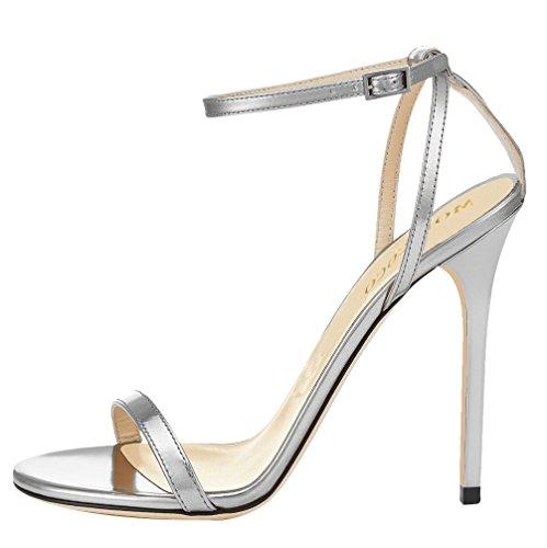 MONICOCO Damenschuhe Summer Stiletto Sandals Mit Knöchelriemchen Silberweiß PU 46 EU