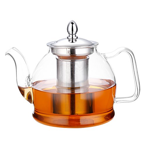 Hiware 1000ml Glass Teapot with Removable Infuser, Stovetop Safe Teapot, Blooming and Loose Leaf Tea Pots (Steel Removable Top Mesh)