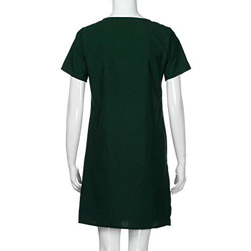 Bolsillos Mujer Fiesta Hot O Mini Vestir Primavera Casual Manga WINWINTOM Sólido Verano 2018 Cuello Verde Corta Vestidos R6xqwPrnY6