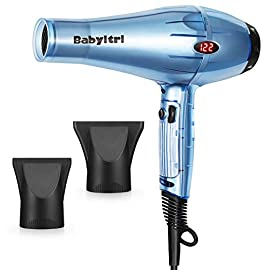 Babyltrl 1875 Watt Hair Dryer, Professional Negative Ionic Salon Blow Dryer with LED Temperature Display, Fast Drying Quiet Hairdryer with 2 Concentrator, 6 Heat Settings & Infinitely Variable Speed - 41iRoSdslCL - Babyltrl 1875W Hair Dryer, Negative Ions Professional Salon Hair Blow Dryer with LED Temperature Display, AC Motor Low Noise Hairdryer with 2 Concentrator Nozzle Attachments
