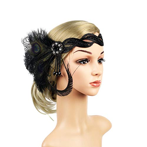 JISEN 1920s Flapper Vintage Peacock Feather Gatsby Beaded Tassel Headpiece Black ()