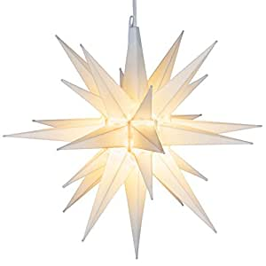 elf logic 21 large white moravian star bright hanging outdoor christmas light - Large Outdoor Christmas Star