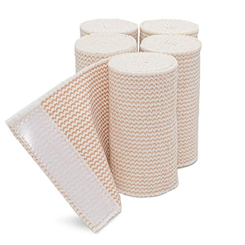 HOSPORA Cotton Elastic Bandage, 3 Inch x 15 feet Stretched Length with Quality Hook and Loop Closure, Latex-Free Compression Bandage, 5 Rolls Pack