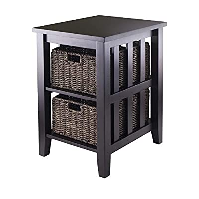 Winsome Morris Accent Table, Espresso - Morris Tables Collection serves as table plus storage with style Foldable baskets made from corn husk, 16-Inch Width by 11-Inch Depth by 7-Inch Height Shelf opening is 11.81-Inch Width by 18.74-Inch Depth by 8.58-Inch Height - living-room-furniture, living-room, end-tables - 41iRpD4 0jL. SS400  -