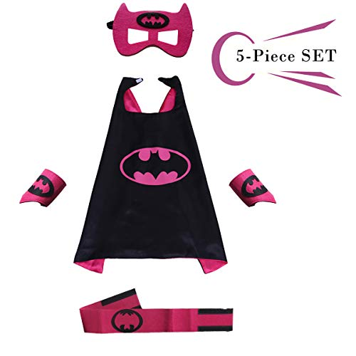Superhero Dress Capes Set for Kids - Child DIY Superhero Themed Birthday Halloween Party Dress up 5-Pack Set (Batman) for $<!--$12.99-->