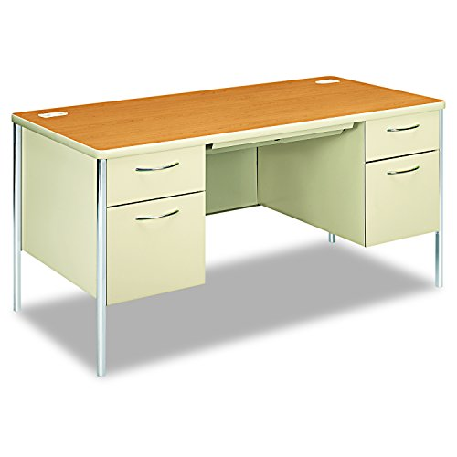 HON 88962CL Mentor Series Double Pedestal Desk 60w x 30d x 29-1/2h Harvest/Putty, Harvest/Putty - Radius Edge Double Pedestal Desk