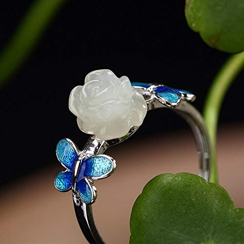 Weiwei Men Ring Rings S925 Sterling Silver Inlaid Natural White Jade Lady Cloisonne Rose Ring