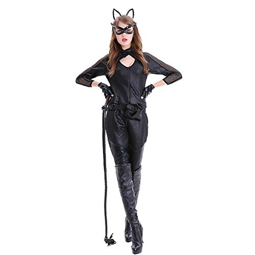 (Ytwysj Women's Fullbody Black Catsuit Halloween Cosplay Catwoman Adult Costume Mask Whip Zipper)