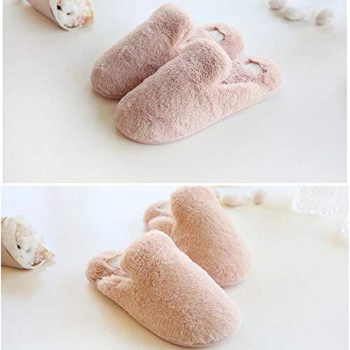 y Rosado Conejo para Interior hogar CottonThickening cálidas YANQINQIN de de de imitación Zapatillas Felpa PUBfH
