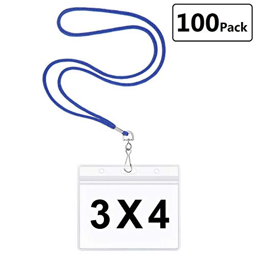 Clear Plastic Horizontal 3x4 Nametag Badge Holders with Woven Lanyards Waterproof PVC ID Card Holder by LONOVE (Royal Blue, 100 Pack) ()