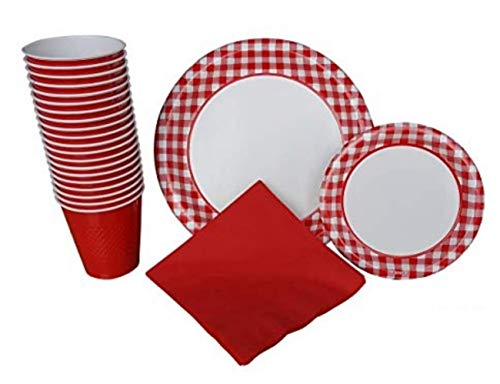 Paper Gingham Plates - Gingham Party Supplies Pack for 40 Guests Deluxe: Extra Large Red Gingham Plates, Small Plates, Napkins & Cups