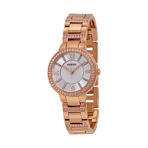 Fossil Women's Virginia Quartz Stainless Steel Dress Watch, Color: Rose Gold-Tone (Model: ES3284)