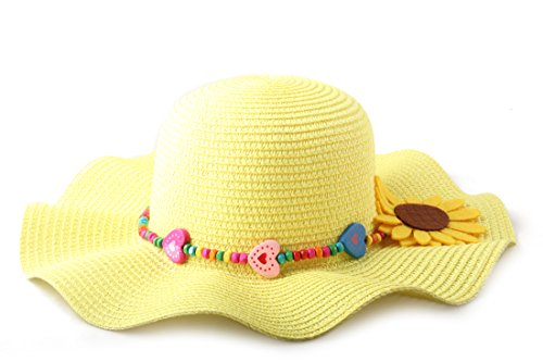 Dantiya Kids Multicolor Sun Hat Large Brim Flower Beach Hats for Girls -