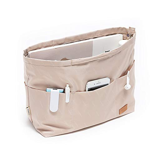 IN Multi-Pocket Travel Handbag Organizer Insert Large for Tote bag Purse Liner Insert Organizer With Handles(Large Khaki)