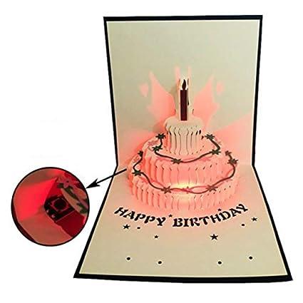 Tarjeta de felicitación con luz LED 3D, tarjeta de ...