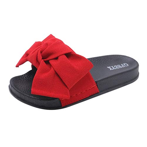 Sandals Indoor Outdoor Bow Knot Pump Flats Flip Flop Slide Slipper Clog Mule Red ()