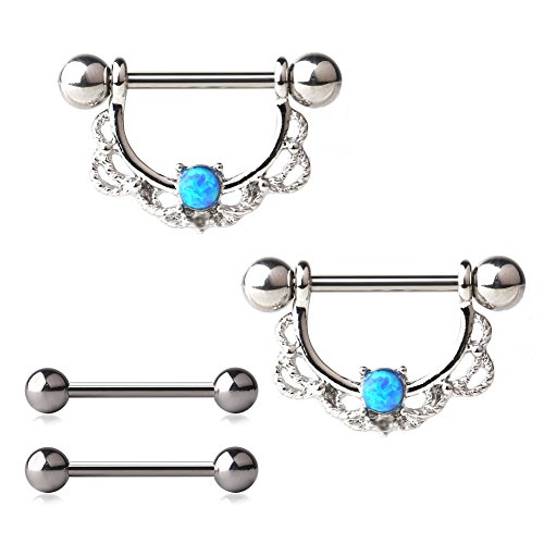 Ruifan 316L Surgical Steel with Blue Opal Centered Filigree Drop Nipple Shield Barbell Barbells Rings Body Piercing 14G 4PCS - Steel (Nipple Surgical Steel)
