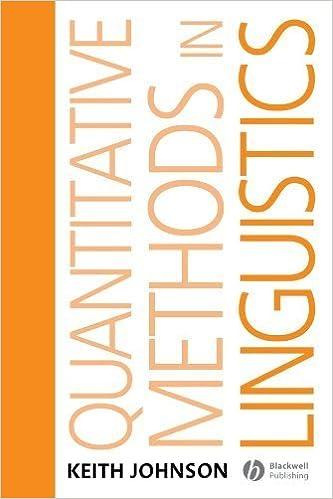 Book Quantitative Methods In Linguistics by Keith Johnson (2008-02-28)