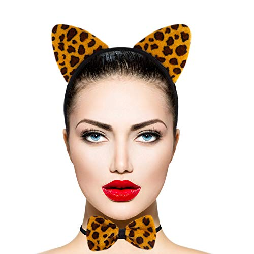 Lux Accessories Brown Black Spots Jaguar Ears Bowtie Tail Costume Party -