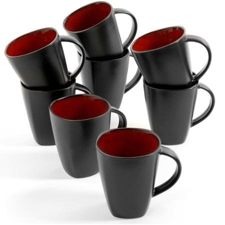 09f04a274b2 Gibson Home Soho Lounge 14 oz Coffee Mug, 8pc Red/ Black Reactive Stoneware