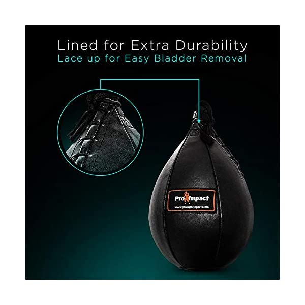 Pro Impact Durahide Speedbag Black - Durable Hanging Swivel Punch Ball for Boxing MMA Muay Thai Fitness or Fighting Sport Training 6