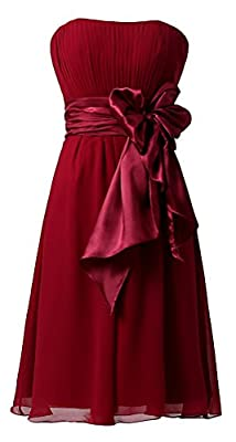 Ouman Sweetheart Bridesmaid Chiffon Prom Dresses Short Evening Gowns