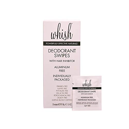Whish Deodorant Swipe - Natural deodorants for women, Inhibits Hair Growth, Individually packaged Odor Eliminator, Organic, 30 count
